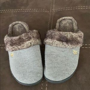 Gray slippers with brown faux fur trim